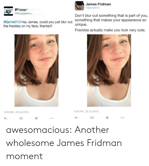 Cute, Tumblr, and Blog: James Fridman  @fjamie013  Don't blur out something that is part of you,  something that makes your appearance so  unique.  Freckles actually make you look very cute.  @fjamie013 hey James, could you just blur out  the freckles on my face, thanks!!!  8:00 AM-20 Jul 2016  5:59 PM-22 Jul 2016  13 awesomacious:  Another wholesome James Fridman moment