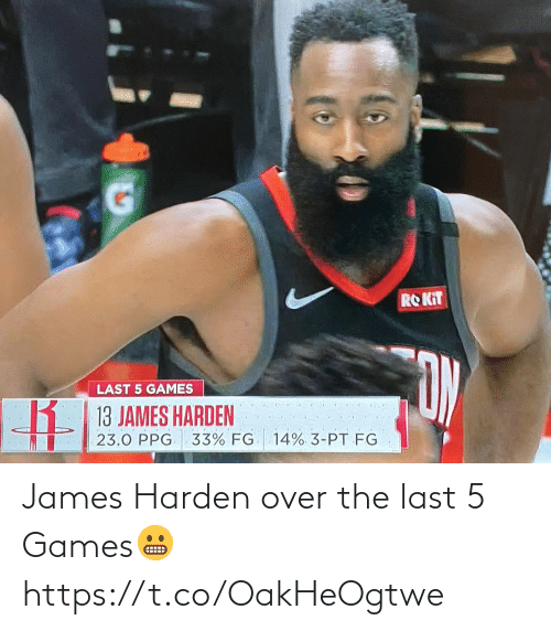 Games: James Harden over the last 5 Games😬 https://t.co/OakHeOgtwe