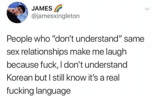 "Korean: JAMES  @jamesxingleton  People who ""don't understand"" same  sex relationships make me laugh  because fuck, I don't understand  Korean but I still know it's a real  fucking language"