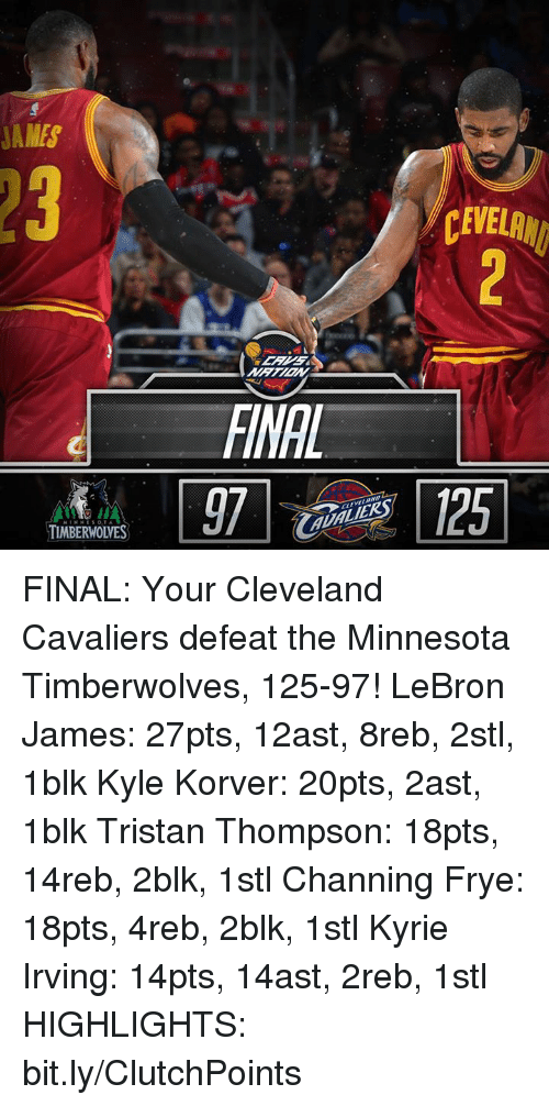 channing frye: JAMES  TIMBERWOWES  CEWELANI FINAL: Your Cleveland Cavaliers defeat the Minnesota Timberwolves, 125-97!  LeBron James: 27pts, 12ast, 8reb, 2stl, 1blk Kyle Korver: 20pts, 2ast, 1blk Tristan Thompson: 18pts, 14reb, 2blk, 1stl Channing Frye: 18pts, 4reb, 2blk, 1stl Kyrie Irving: 14pts, 14ast, 2reb, 1stl  HIGHLIGHTS: bit.ly/ClutchPoints