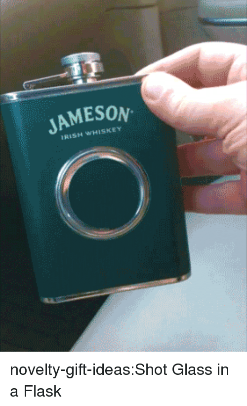 flask: JAMESON  IRISH WHISKEY novelty-gift-ideas:Shot Glass in a Flask