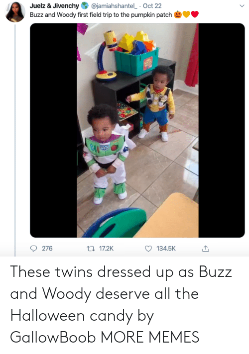 buzz: @jamiahshantel Oct 22  Juelz & Jivenchy  Buzz and Woody first field trip to the pumpkin patch  276  t17.2K  134.5K These twins dressed up as Buzz and Woody deserve all the Halloween candy by GallowBoob MORE MEMES