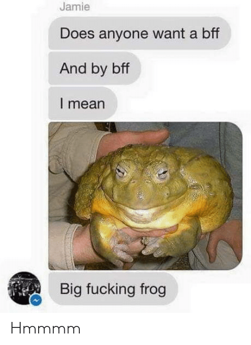 Does Anyone: Jamie  Does anyone want a bff  And by bff  I mean  Big fucking frog Hmmmm
