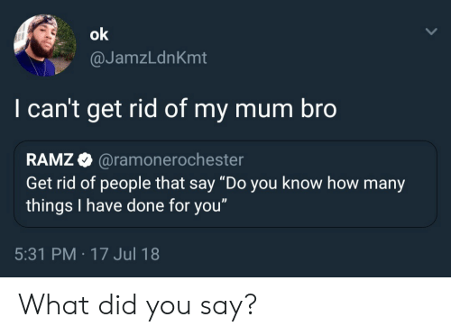 """what did you say: @JamzLdnKmt  I can't get rid of my mum bro  RAMZ @ramonero  Get rid of people that say """"Do you know how many  things I have done for you""""  chester  5:31 PM -17 Jul 18 What did you say?"""