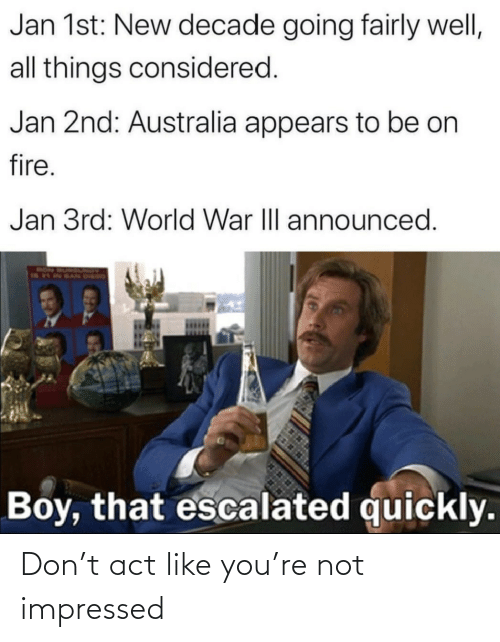 1St: Jan 1st: New decade going fairly well,  all things considered.  Jan 2nd: Australia appears to be on  fire.  Jan 3rd: World War III announced.  RON  Boy, that escalated quickly. Don't act like you're not impressed