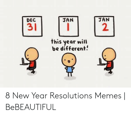 New Years Resolution Meme: JAN  JAN  DEC  31  2  this year will  be different! 8 New Year Resolutions Memes | BeBEAUTIFUL
