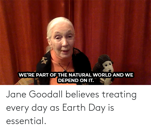 every day: Jane Goodall believes treating every day as Earth Day is essential.