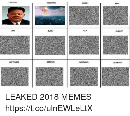 Memes, April, and 🤖: JANUARY  FEBRUARY  MARCH  APRIL  MAY  JUNE  JULY  AUGUST  SEPTEMBER  OCTOBER  NOVEMBER  DECEMBER LEAKED 2018 MEMES https://t.co/ulnEWLeLtX
