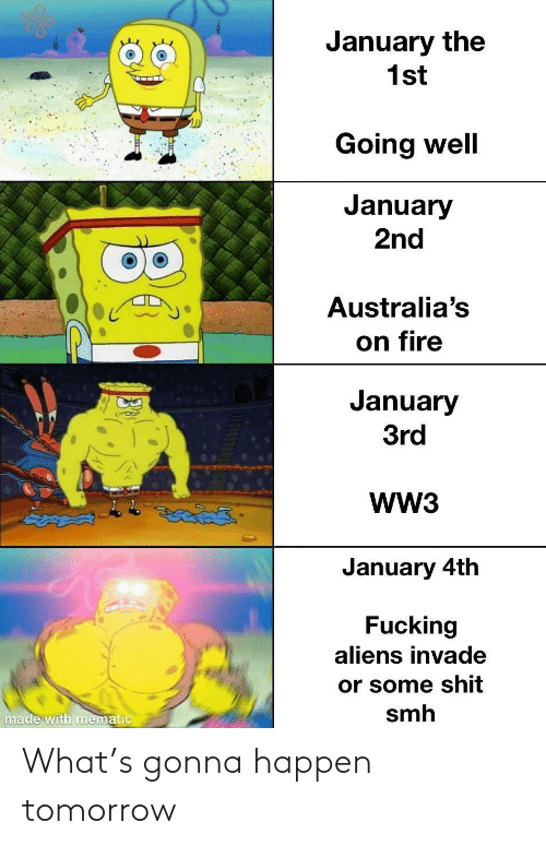 SMH: January the  1st  Going well  January  2nd  Australia's  on fire  January  3rd  WW3  తైతడద్  January 4th  Fucking  aliens invade  or some shit  smh  made with mematic What's gonna happen tomorrow