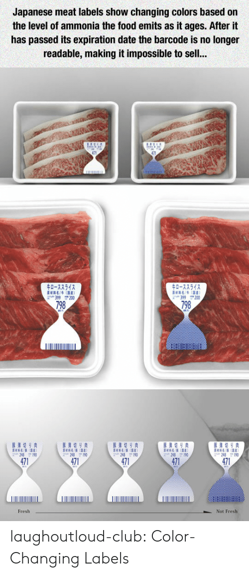 Club, Food, and Fresh: Japanese meat labels show changing colors based on  the level of ammonia the food emits as it ages. After it  has passed its expiration date the barcode is no longer  readable, making it impossible to sel..  0-72542  0-7754  H4(R)  399 200  399 200  798  798  471  471  471  471  471  Fresh  Not Fresh laughoutloud-club:  Color-Changing Labels
