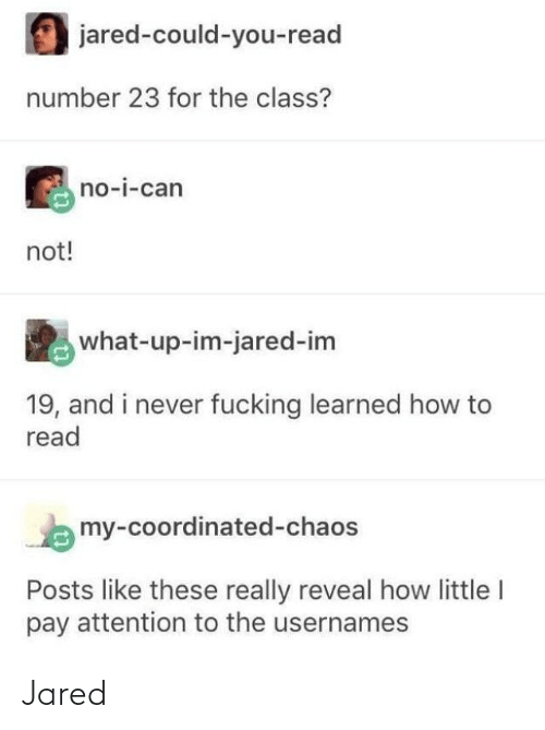 Fucking, Tumblr, and How To: jared-could-you-read  number 23 for the class?  no-i-can  not!  what-up-im-jared-im  19, and i never fucking learned how to  read  my-coordinated-chaos  Posts like these really reveal how little I  pay attention to the usernames Jared