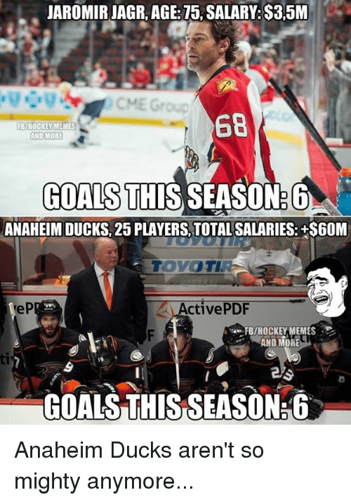 Anaheim Ducks: JAROMIRJAGR, AGE: 75, SALARY: S35M  68  FB/HOCKEY MEMES  AND MORE  GOALS THIS SEASON  ANAHEIM DUCKS, 25 PLAYERS TOTALSALARIES: +S60M  Active PDF  FB/HOCKEY MEMES  AND MORE  GOALS THIS SEASONE6 Anaheim Ducks aren't so mighty anymore...