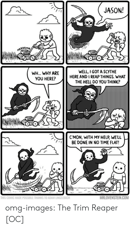 Trimming: JASON!  WH... WHY ARE  YOU HERE?  WELL,I GOT A SCYTHE  HERE AND I REAP THINGS. WHAT  THE HELL DO YOU THINK?  C'MON, WITH MY HELP, WE'LL  BE DONE IN NO TIME FLAT!  THIS COMIC MADE POSSIBLE THANKS TO ADAM LINGELBACH  MRLOVENSTEIN.COM omg-images:  The Trim Reaper [OC]