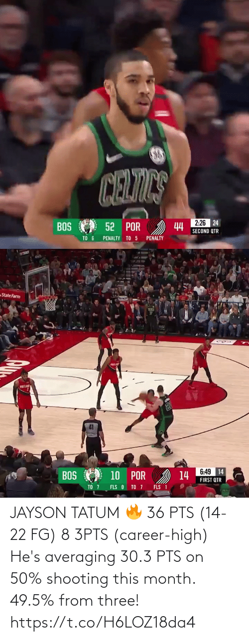 career: JAYSON TATUM 🔥 36 PTS (14-22 FG) 8 3PTS (career-high)  He's averaging 30.3 PTS on 50% shooting this month. 49.5% from three!   https://t.co/H6LOZ18da4