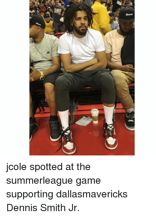 Dennis Smith Jr: jcole spotted at the summerleague game supporting dallasmavericks Dennis Smith Jr.
