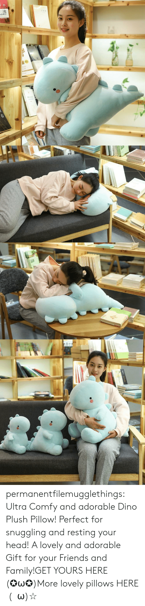 dino: JD  三论  laint  orld  TDNAR  ww.e permanentfilemugglethings:  Ultra Comfy and adorable Dino Plush Pillow! Perfect for snuggling and resting your head! A lovely and adorable Gift for your Friends and Family!GET YOURS HERE (✪ω✪)More lovely pillows HERE  (・ω)☆