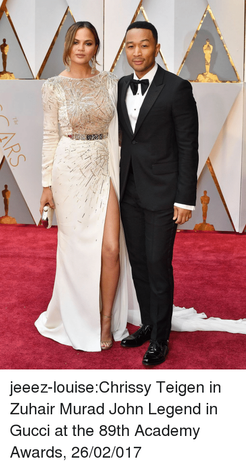 Academy Awards: jeeez-louise:Chrissy Teigen in Zuhair Murad  John Legend in Gucci at the 89th Academy Awards, 26/02/017