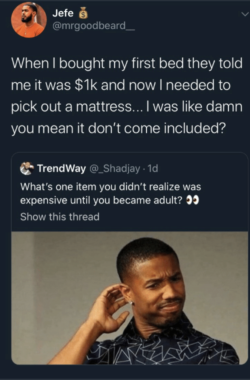 Mean It: Jefe  @mrgoodbeard_  When I bought my first bed they told  me it was $1k and now I needed to  pick out a mattress... I was like damn  you mean it don't come included?  TrendWay @_Shadjay 1d  What's one item you didn't realize was  expensive until you became adult?  Show this thread