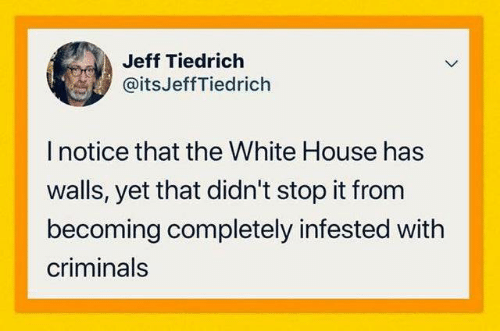 White House, House, and White: Jeff Tiedrich  @itsJeffTiedrich  I notice that the White House has  walls, yet that didn't stop it from  becoming completely infested with  criminals