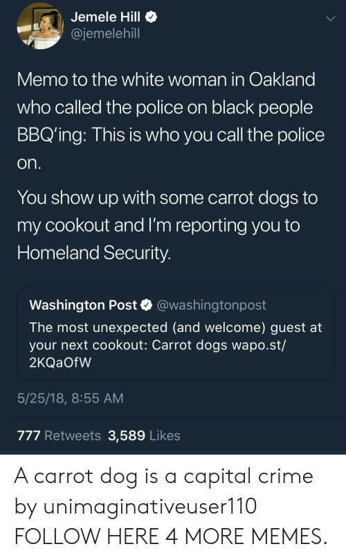 homeland security: Jemele Hill  @jemelehill  Memo to the white woman in Oakland  who called the police on black people  BBQ'ing: This is who you call the police  on.  You show up with some carrot dogs to  my cookout and I'm reporting you to  Homeland Security.  Washington Post  @washingtonpost  The most unexpected (and welcome) guest at  your next cookout: Carrot dogs wapo.st/  2KQ OFW  5/25/18, 8:55 AM  777 Retweets 3,589 Likes A carrot dog is a capital crime by unimaginativeuser110 FOLLOW HERE 4 MORE MEMES.