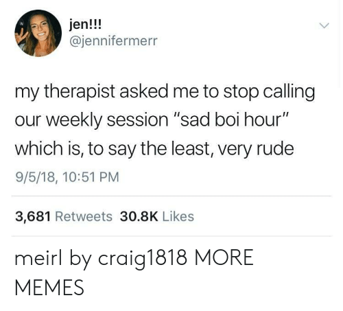 "Sessions: jen!!!  @jennifermerr  my therapist asked me to stop calling  our weekly session ""sad boi hour""  which is, to say the least, very rude  9/5/18, 10:51 PM  3,681 Retweets 30.8K Likes meirl by craig1818 MORE MEMES"
