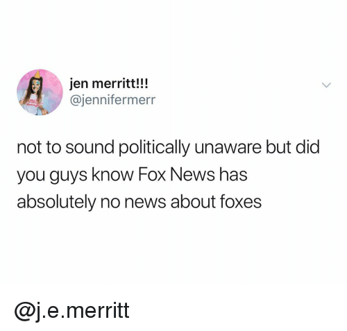 Politically: jen merritt!!!  @jennifermerr  not to sound politically unaware but did  you guys know Fox News has  absolutely no news about foxes @j.e.merritt