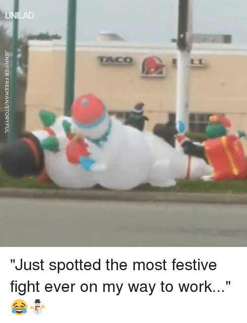 "Dank, Work, and Fight: JENNIFER FREEMAN/STORYFUL ""Just spotted the most festive fight ever on my way to work..."" 😂⛄️"