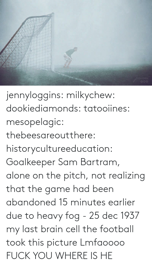 Game: jennyloggins:  milkychew: dookiediamonds:  tatooiines:   mesopelagic:  thebeesareoutthere:  historycultureeducation: Goalkeeper Sam Bartram, alone on the pitch, not realizing that the game had been abandoned 15 minutes earlier due to heavy fog - 25 dec 1937 my last brain cell   the football took this picture    Lmfaoooo      FUCK YOU WHERE IS HE