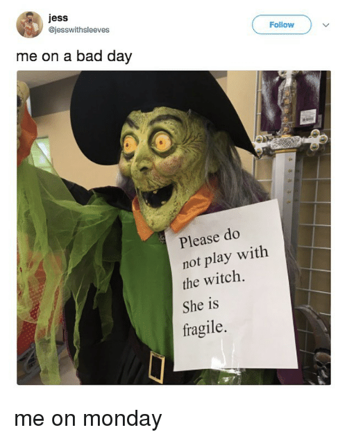 do not play: jess  @jesswithsleeves  Follow  me on a bad day  Please do  not play with  the witch.  She is  fragile. me on monday