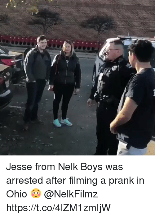 Prank, Ohio, and Boys: Jesse from Nelk Boys was arrested after filming a prank in Ohio 😳 @NelkFilmz https://t.co/4lZM1zmIjW