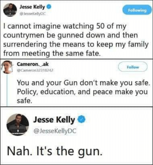 Family, Memes, and Fate: Jesse Kelly  lessekellyDC  Following  I cannot imagine watching 50 of my  countrymen be gunned down and then  surrendering the means to keep my family  from meeting the same fate  Cameron.ak  @Cameron32338242  Follow  You and your Gun don't make you safe.  Policy, education, and peace make you  safe.  Jesse Kelly  @JesseKellyDC  Nah. It's the gun
