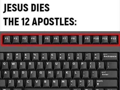 Ÿ˜…: JESUS DIES  THE 12 APOSTLES:  F1  F2  F3  FS  F6  F7  F8  F9  F10 F11 F12  F4  &  Backspace  3  R  Y  A  G  K  Enter  Shift