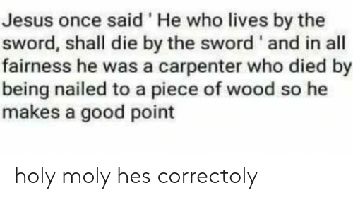 Jesus, Good, and Sword: Jesus once said'He who lives by the  sword, shall die by the sword' and in all  fairness he was a carpenter who died by  being nailed to a piece of wood so he  makes a good point holy moly hes correctoly