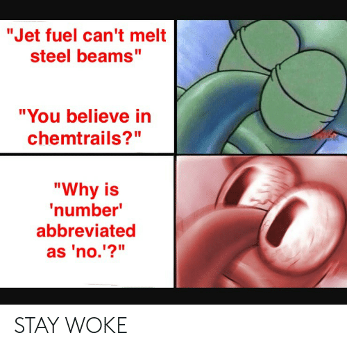 """chemtrails: """"Jet fuel can't melt  steel beams""""  """"You believe in  chemtrails?""""  """"Why is  number  abbreviated  as 'no.'?"""" STAY WOKE"""