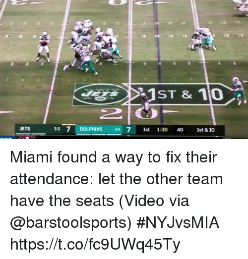 Sports, Dolphins, and Jets: JETS  33 7 DOLPHINS 32 7 1st 1:30 40 1  st & 10 Miami found a way to fix their attendance: let the other team have the seats  (Video via @barstoolsports) #NYJvsMIA https://t.co/fc9UWq45Ty