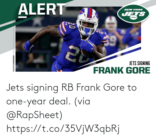 Frank Gore: Jets signing RB Frank Gore to one-year deal. (via @RapSheet) https://t.co/35VjW3qbRj