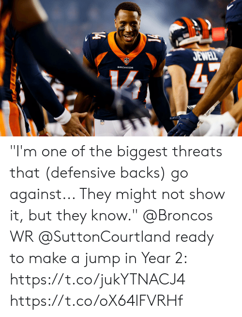 """Memes, Broncos, and 🤖: JEWELL  47  BRONCOS  14 """"I'm one of the biggest threats that (defensive backs) go against... They might not show it, but they know.""""  @Broncos WR @SuttonCourtland ready to make a jump in Year 2: https://t.co/jukYTNACJ4 https://t.co/oX64lFVRHf"""