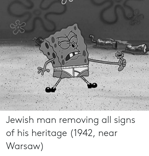 warsaw: Jewish man removing all signs of his heritage (1942, near Warsaw)