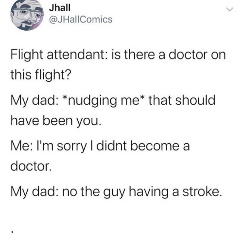 Me That: Jhall  @JHallComics  Flight attendant: is there a doctor on  this flight?  My dad: *nudging me* that should  have been you.  Me: I'm sorry I didnt become a  doctor.  My dad: no the guy having a stroke. .
