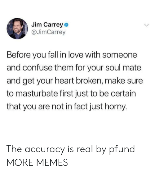 heart broken: Jim Carrey o  @JimCarrey  Before you fall in love with someone  and confuse them for your soul mate  and get your heart broken, make sure  to masturbate first just to be certain  that you are not in fact just horny. The accuracy is real by pfund MORE MEMES