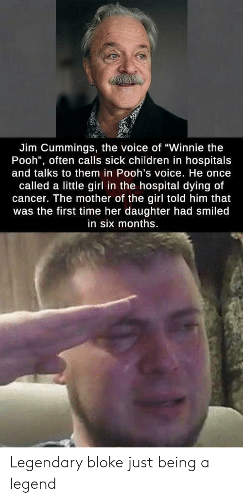 "Children, The Voice, and Winnie the Pooh: Jim Cummings, the voice of ""Winnie the  Pooh"", often calls sick children in hospitals  and talks to them in Pooh's voice. He once  called a little girl in the hospital dying of  cancer. The mother of the girl told him that  was the first time her daughter had smiled  in six months. Legendary bloke just being a legend"