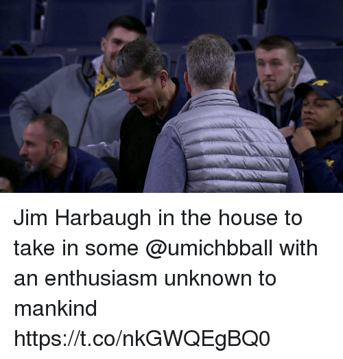 Jim Harbaugh: Jim Harbaugh in the house to take in some @umichbball with an enthusiasm unknown to mankind https://t.co/nkGWQEgBQ0