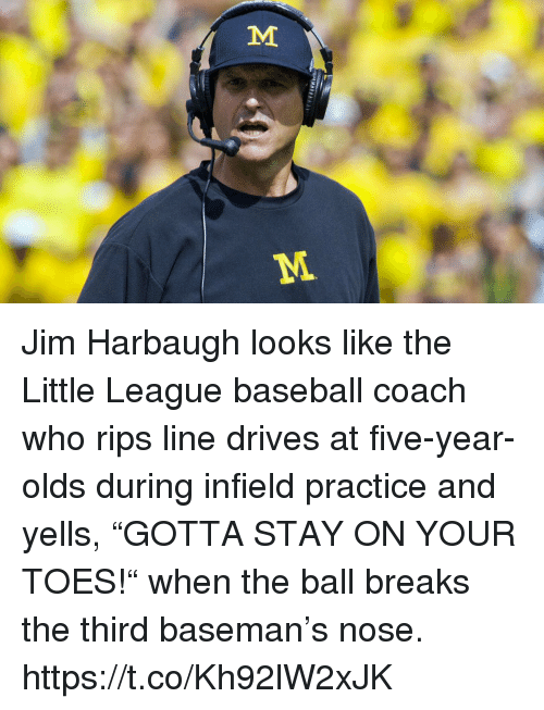 """Baseball, Sports, and Jim Harbaugh: Jim Harbaugh looks like the Little League baseball coach who rips line drives at five-year-olds during infield practice and yells, """"GOTTA STAY ON YOUR TOES!"""" when the ball breaks the third baseman's nose. https://t.co/Kh92lW2xJK"""