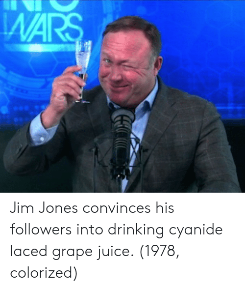 Laced: Jim Jones convinces his followers into drinking cyanide laced grape juice. (1978, colorized)
