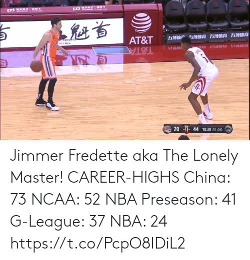 preseason: Jimmer Fredette aka The Lonely Master!   CAREER-HIGHS China: 73 NCAA: 52 NBA Preseason: 41  G-League: 37 NBA: 24   https://t.co/PcpO8IDiL2