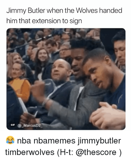 Basketball, Jimmy Butler, and Nba: Jimmy Butler when the Wolves handed  him that extension to sign  GIFMarcusD 😂 nba nbamemes jimmybutler timberwolves (H-t: @thescore )