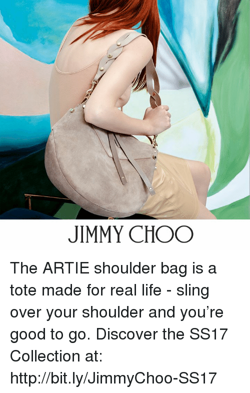 good to go: JIMMY CHOO The ARTIE shoulder bag is a tote made for real life - sling over your shoulder and you're good to go.  Discover the SS17 Collection at: http://bit.ly/JimmyChoo-SS17
