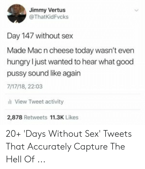 sex memes tumblr: Jimmy Vertus  @ThatKidFvcks  Day 147 without sex  Made Macn cheese today wasn't even  hungry l just wanted to hear what good  pussy sound like again  7/17/18, 22:03  l View Tweet activity  2,878 Retweets 11.3K Likes 20+ 'Days Without Sex' Tweets That Accurately Capture The Hell Of ...