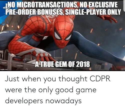 Microtransactions: JNO MICROTRANSACTIONS, NO EXCLUSIVE  PRE-ORDER BONUSES, SINGLE-PLAYER ONLY  A TRUE GEM OF 2018 Just when you thought CDPR were the only good game developers nowadays
