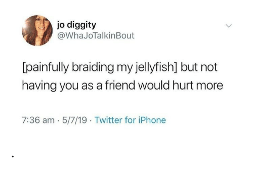 5 7: jo diggity  @WhaJoTalkinBout  [painfully braiding my jellyfish] but not  having you as a friend would hurt more  7:36 am 5/7/19 Twitter for iPhone .